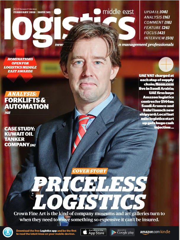 Crown Fine Art features on the front page of Middle East Logistics magazine
