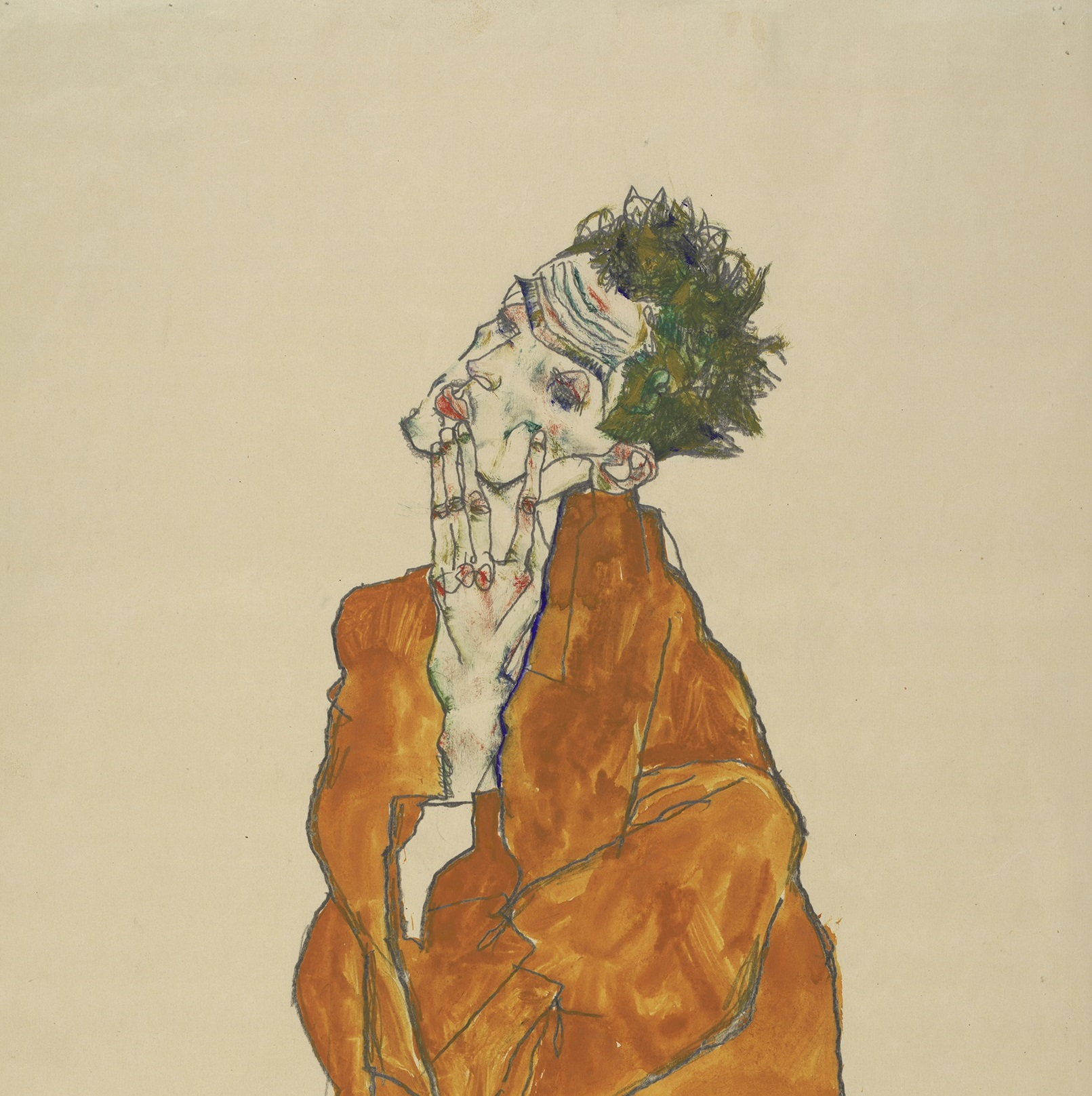 'Self Portrait (Man in Orange Jacket)' by Egon Schiele. Image courtesy of the Albertina Museum