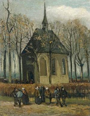 Congregation Leaving the Reformed Church in Nuenen, Vincent van Gogh - 1884 to 1885