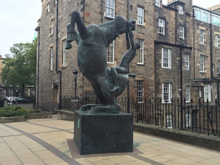 Horse and Rider - 1993 by Eoghan Bridge, Rutland Court, Edinburgh, © the artist, photo credit: Katey Goodwin