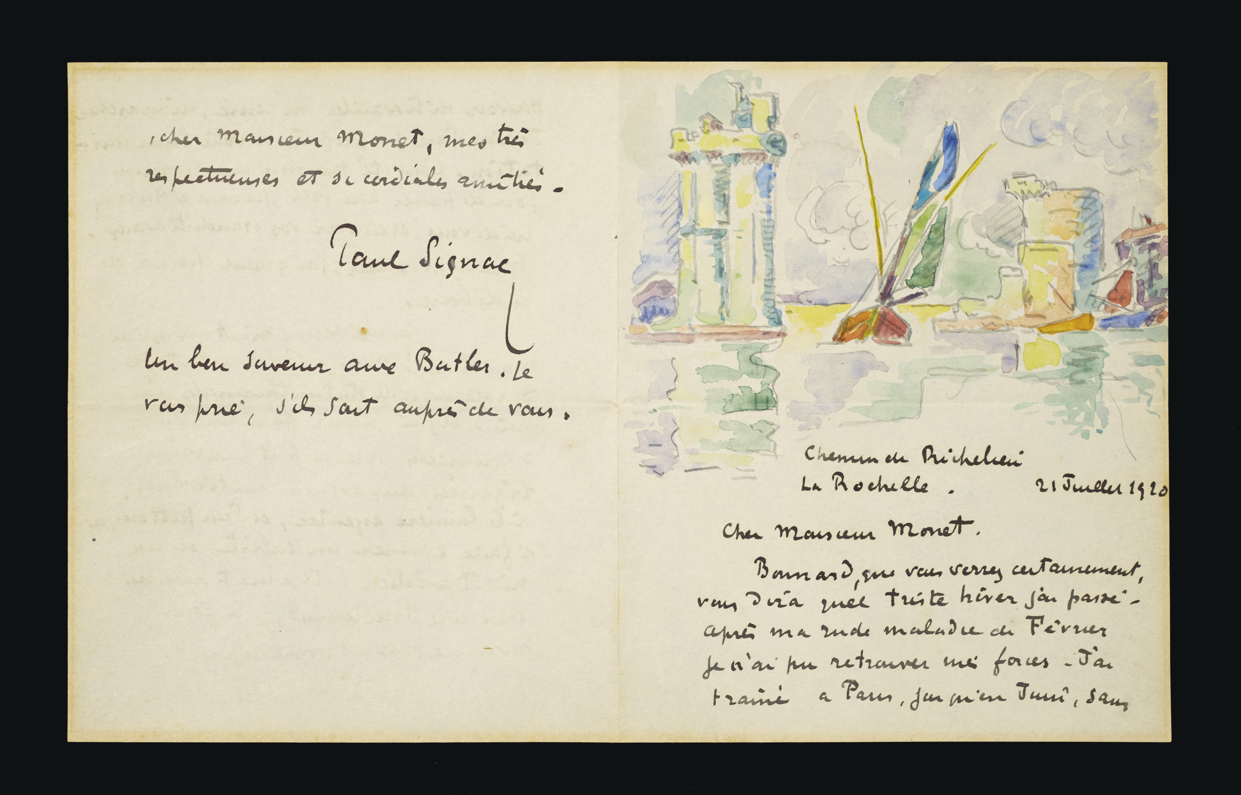 "Lot 25: Paul Signac (1863-1935), Letter to Claude Monet. Dated, located and dedicated ""Chemin de Richelieu La Rochelle. 21 Juillet 1920 Cher Monsieur Monet."" Signed ""Paul Signac."" Executed in La Rochelle, 21 July 1920. Estimate: $50,000 - $100,000. ©Christie's Images Ltd, 2017."