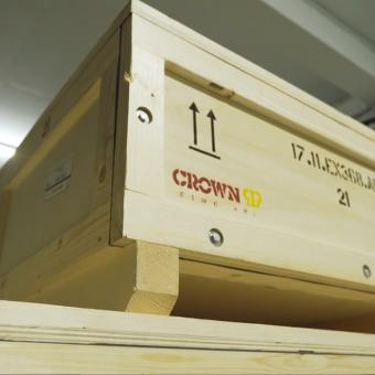 Crown Fine Art's custom-made crates in transit