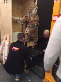 Crown Fine Art move a life size Buddah a life size Buddha which was then placed in the Van Der Ven Oriental Art Gallery